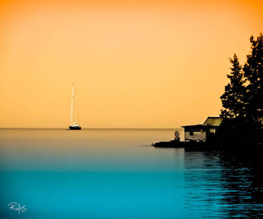 Yacht Photograph - Anchored Near A Temple - Sureal by Allan Rufus