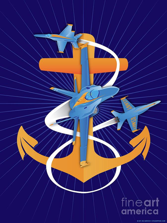 Navy Digital Art - Anchors Aweigh Blue Angels Fouled Anchor by Joe Barsin by Joe Barsin