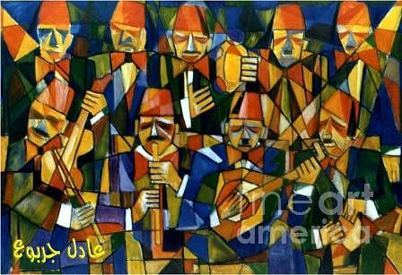 Cubism Painting - Ancient Arabic Music Band by Adel Jarbou