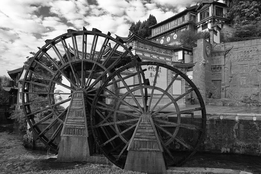 Asia Photograph - Ancient Chinese Waterwheels by Michele Burgess