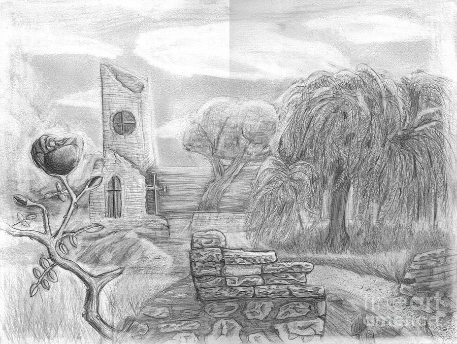 Landscape Drawing - Ancient Church by Katie Alfonsi