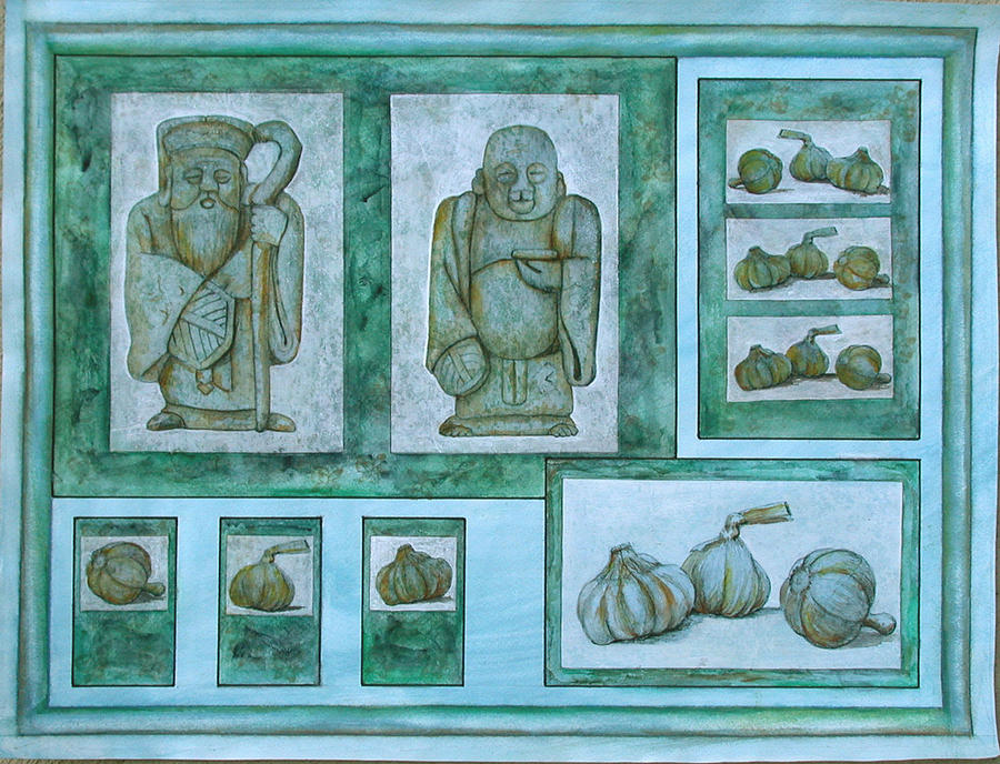 Garlic Painting - Ancient Cures by Sandy Clift