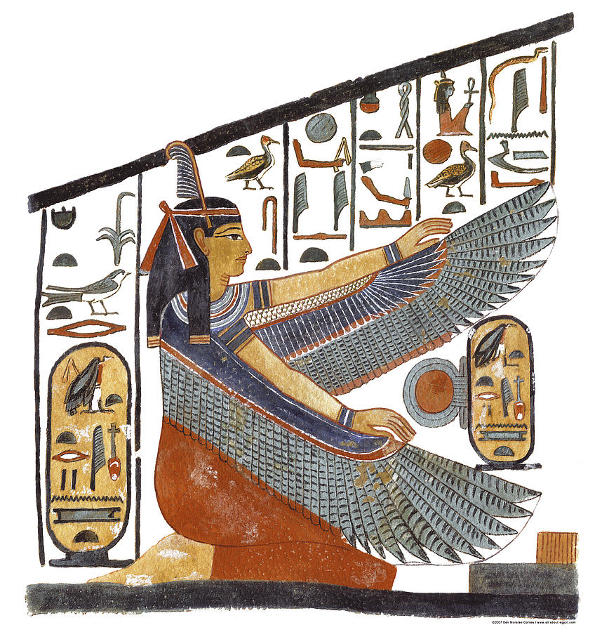Ancient egyptian goddess maat painting by ben morales correa for Egyptian fresco mural painting
