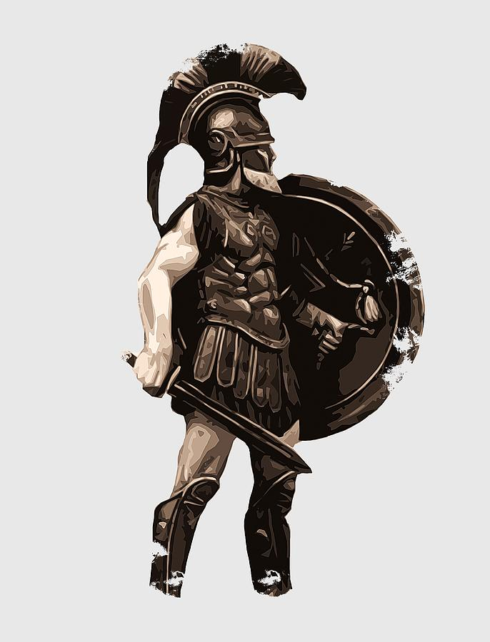 ancient greek hoplite painting by andrea mazzocchetti