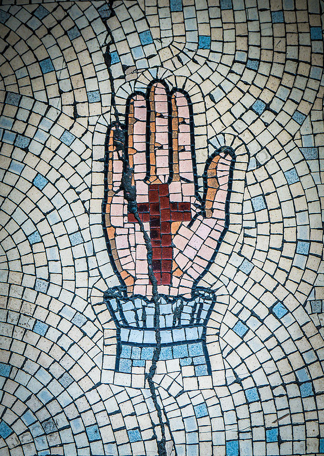 Aged Photograph - Ancient Mosaic Of A Hand And Cross by Mr Doomits
