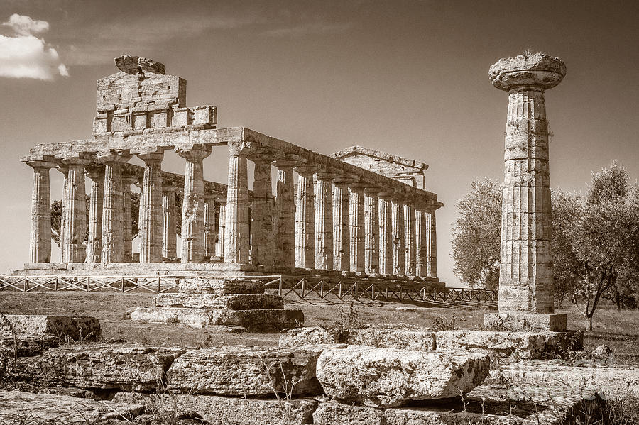 Ancient Paestum Architecture by Prints of Italy