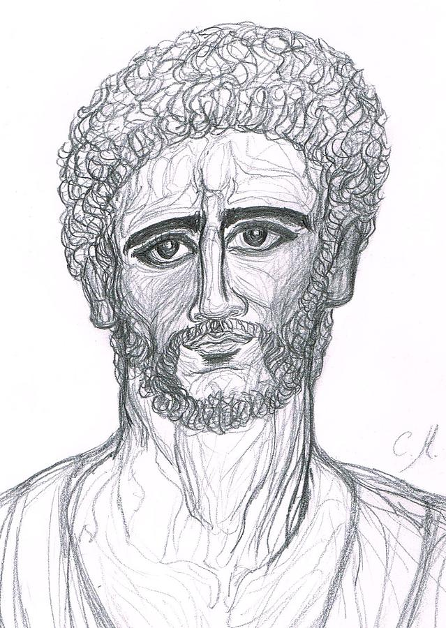 Roman Emperor Drawing - Ancient Portrait Of Roman Emperor In The Style Fayoum/byzance by Cindy MILLET