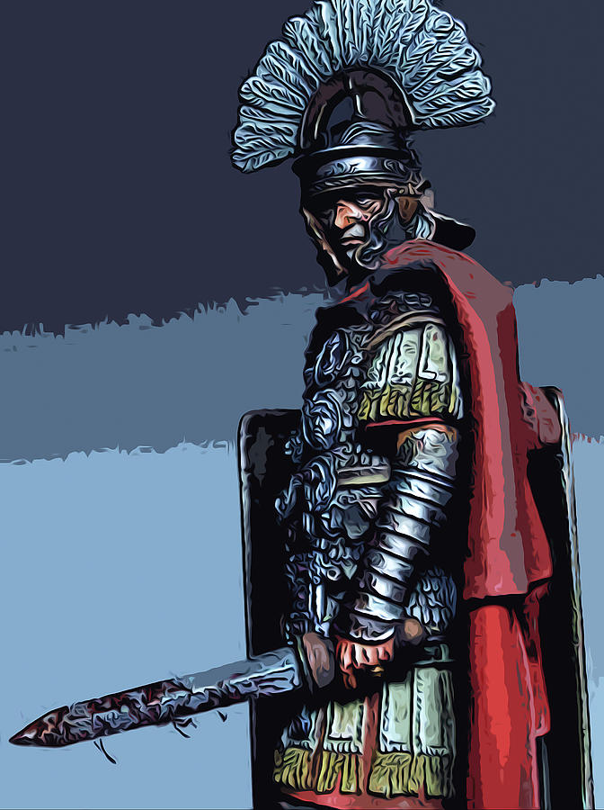 ancient roman soldier painting by andrea mazzocchetti