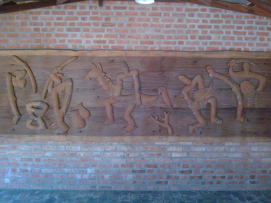 God Ceramic Art - Ancient Wall Carving by Joni Mazumder