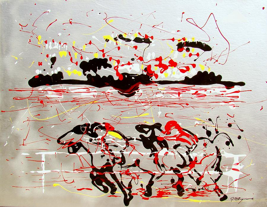 Abstract Mixed Media - And Down The Stretch They Come by J R Seymour