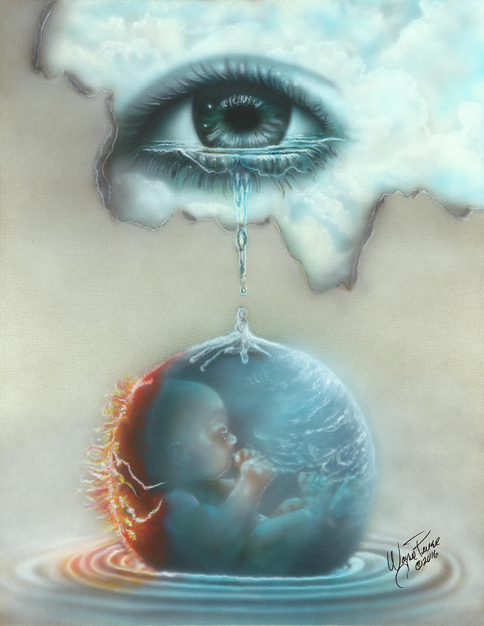 Surrealism Painting - And God Weeps by Wayne Pruse