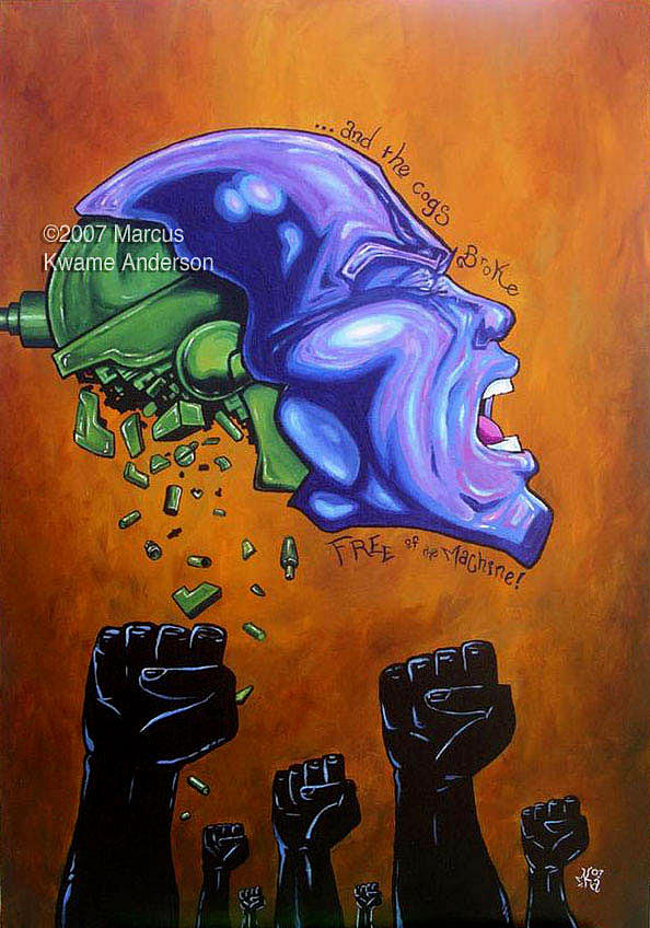 Freedom Painting - and the Cogs Broke Free by Marcus Anderson