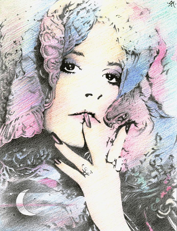 Stevie Nicks Drawing - And The Ladys Feeling Just Like The Moon... by Johanna Pieterman