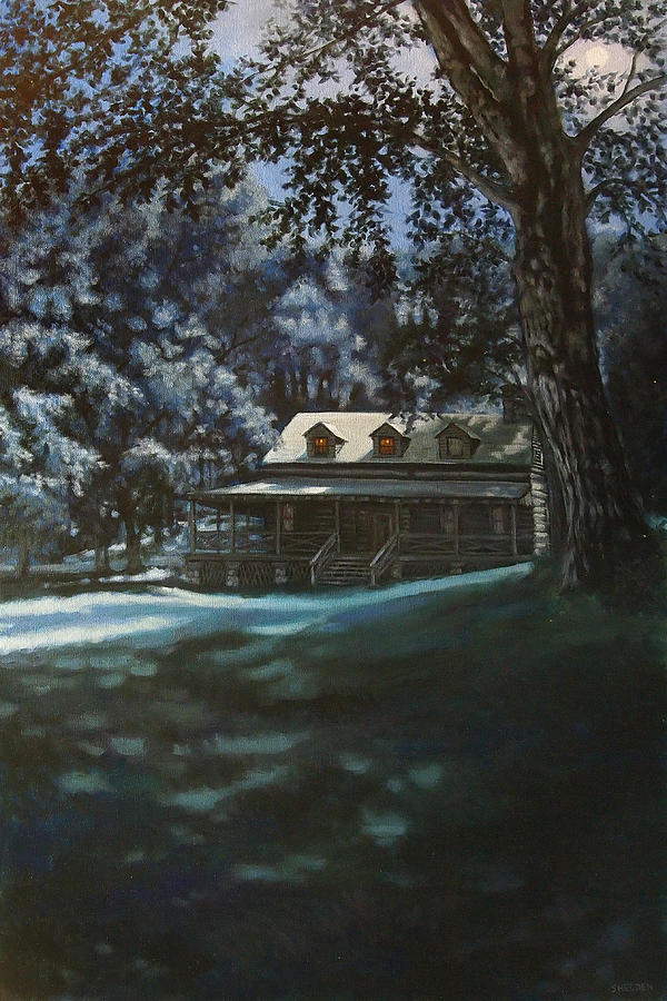 Rural Painting - And The Lights Glowing Softly At Night Guide Us Home by Suzanne Shelden