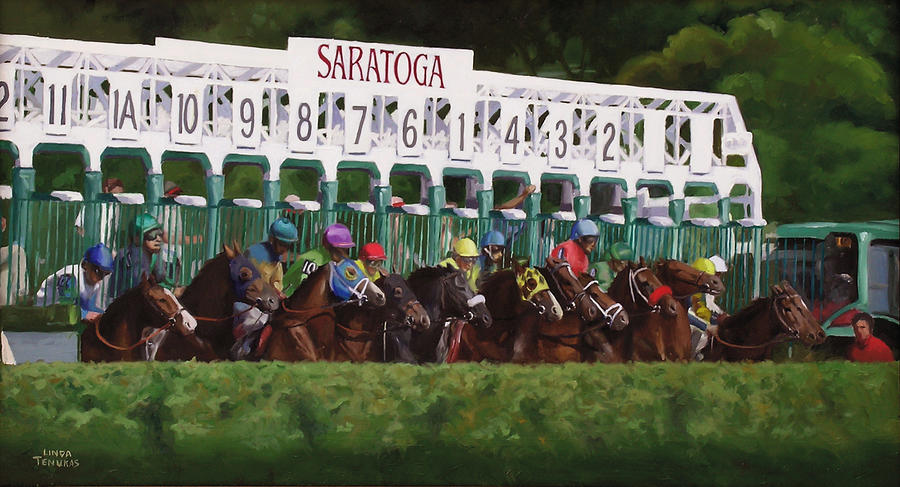 Horses Painting - And Theyre Off by Linda Tenukas