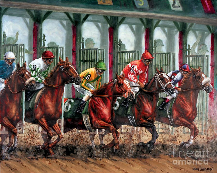 Derby Painting - And Theyre Off by Thomas Allen Pauly