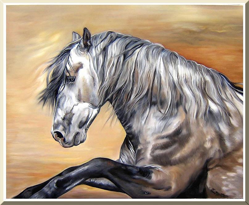 Horses Painting - Andalus by Ellen-marie Janse