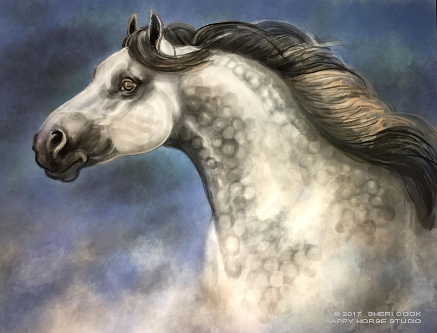 Digital Painting Digital Art - Andalusian by Sheri Cook