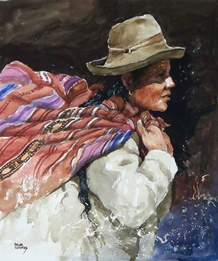 Andean Painting - Andean Woman by Oscar  Cuadros