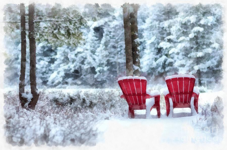 Red Digital Art - Anderson Pond Winter Eastman New Hampshire by Edward Fielding