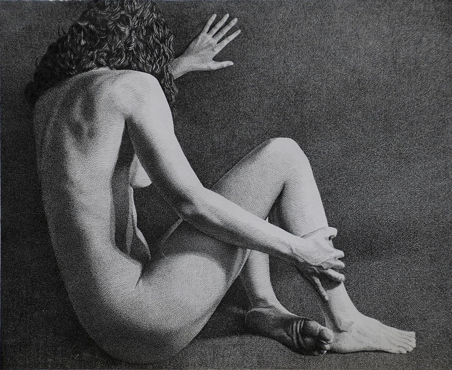 Figure Drawing - Andrea Leaning by Marcel Franquelin