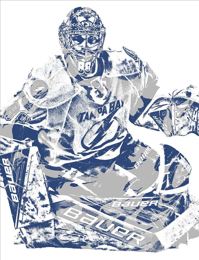 Lightning Mixed Media - Andrei Vasilevskiy Tampa Bay Lightning Pixel Art 2 by Joe Hamilton