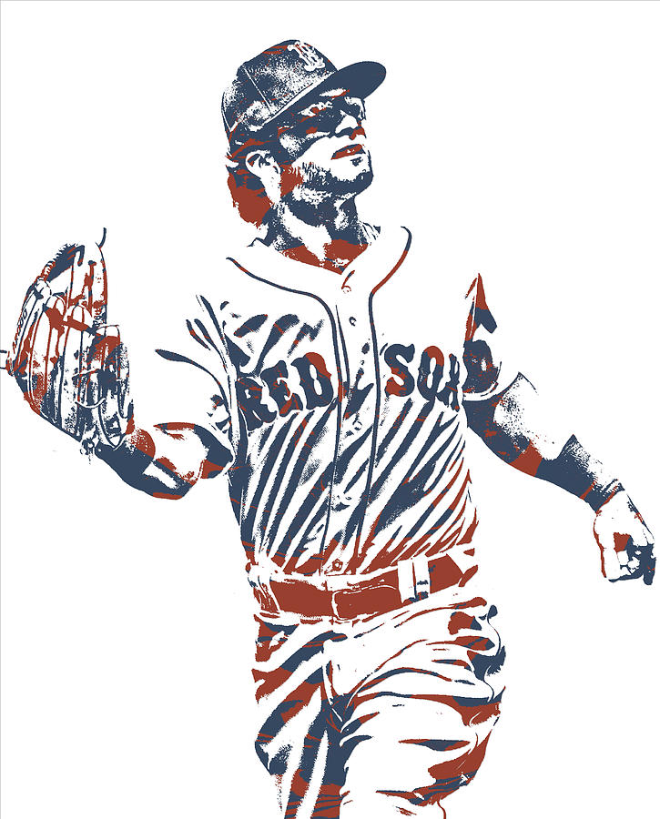 Red Sox Mixed Media - Andrew Benintendi BOSTON RED SOX PIXEL ART 10 by Joe Hamilton