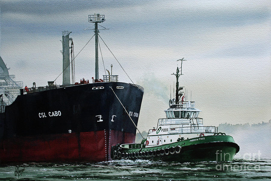 Tugboat Painting - ANDREW FOSS Ship Assist by James Williamson
