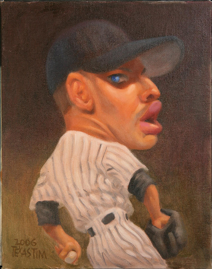 Baseball Pitcher In The Wind Up Preparing To Throw A Curve Ball Painting - Andy Pettitte by Texas Tim Webb