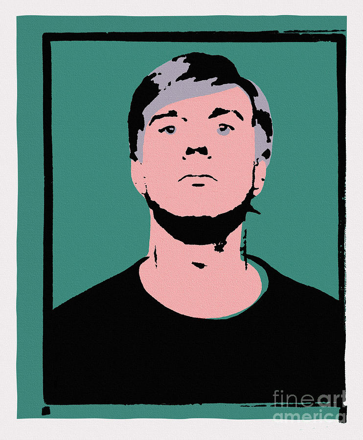 Andy Warhol Painting - Andy Warhol Self Portrait 1964 On Green - High Quality - Stamp Edition 2012 by Peter Potamus