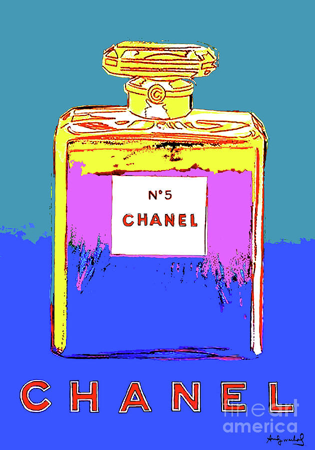 Coco Chanel Mixed Media - Andy Warhols, Chanel No 5, Paris, Eau De Parfum .  Warm Blue Background. by Thomas Pollart