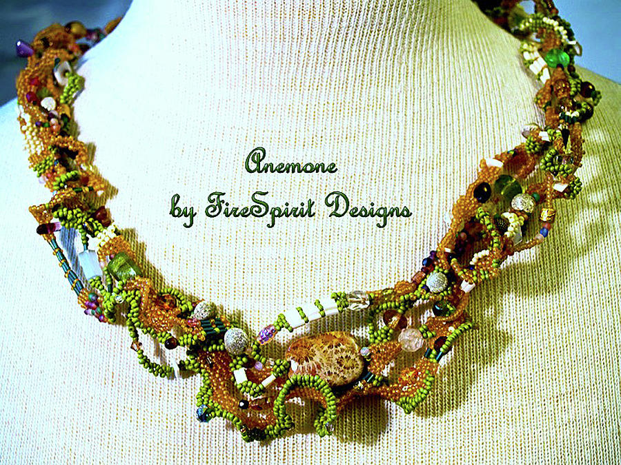 Anemone- freeform peyote stitch necklace by Patricia Griffin Brett