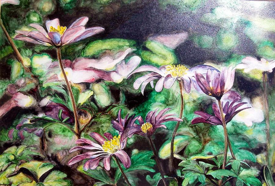 Flower Painting - Anemones Japonaises by Muriel Dolemieux