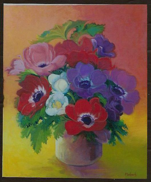 Floral Painting - Anemonies by Marilyn Moskowitz