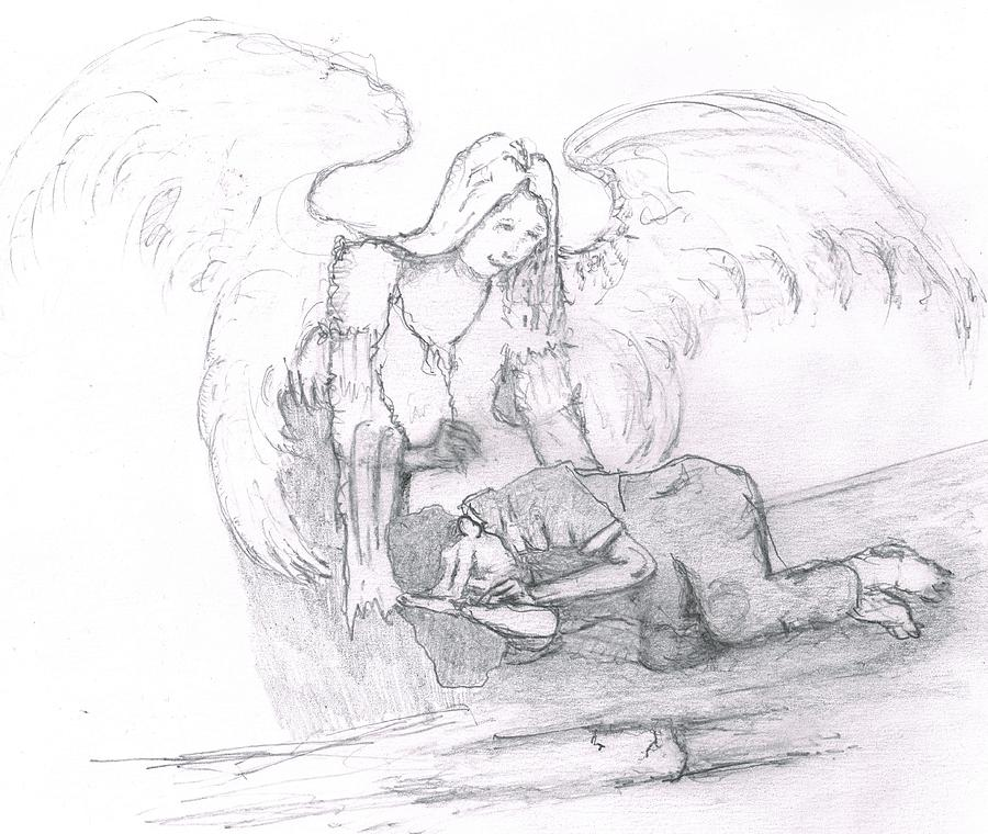 Angel And The Man Drawing