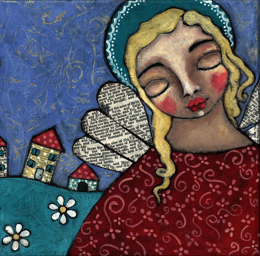 Angel Painting - Angel And Village by Julie-ann Bowden