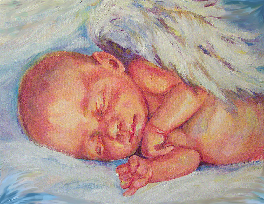 Baby Painting - Angel Baby by Peggy Wilson