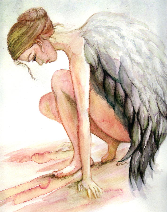 Angel Drawing - Angel Bowed by L Lauter
