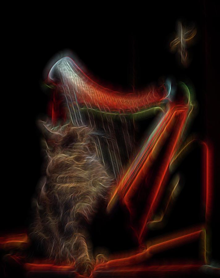 Abstract Digital Art - Angel Cat by William Horden