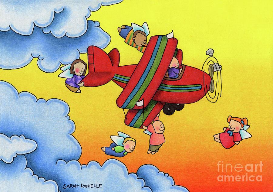 Angels Drawing - Angel Flight by Sarah Batalka