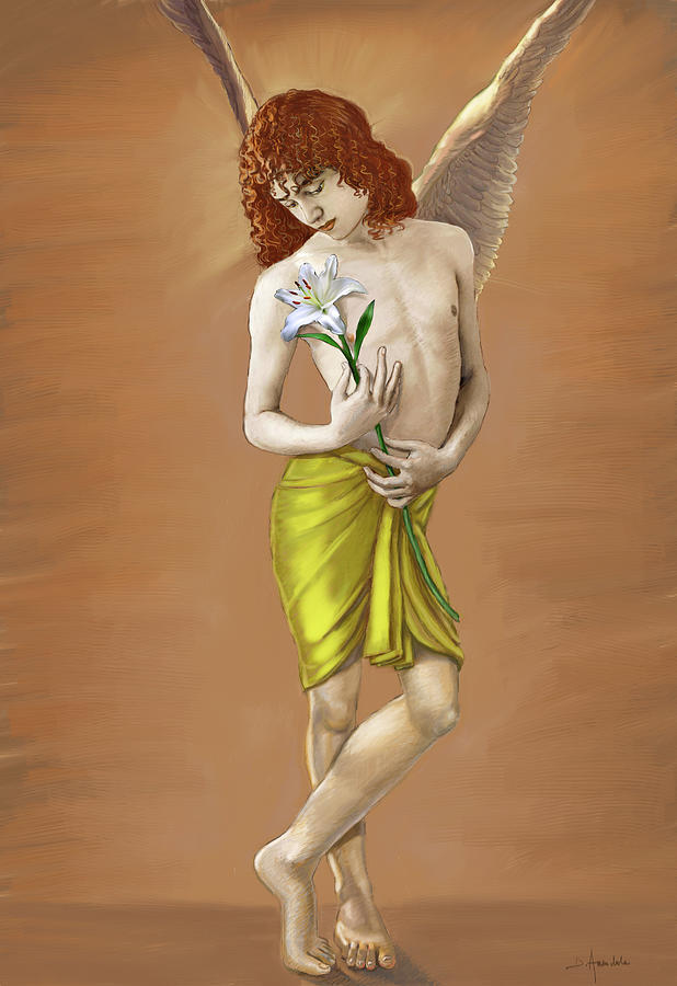 Digital Painting - Angel Holding A Lily by Dominique Amendola