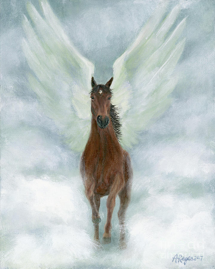 Angel Horse Running Free Across the Heavens by Amy Reges