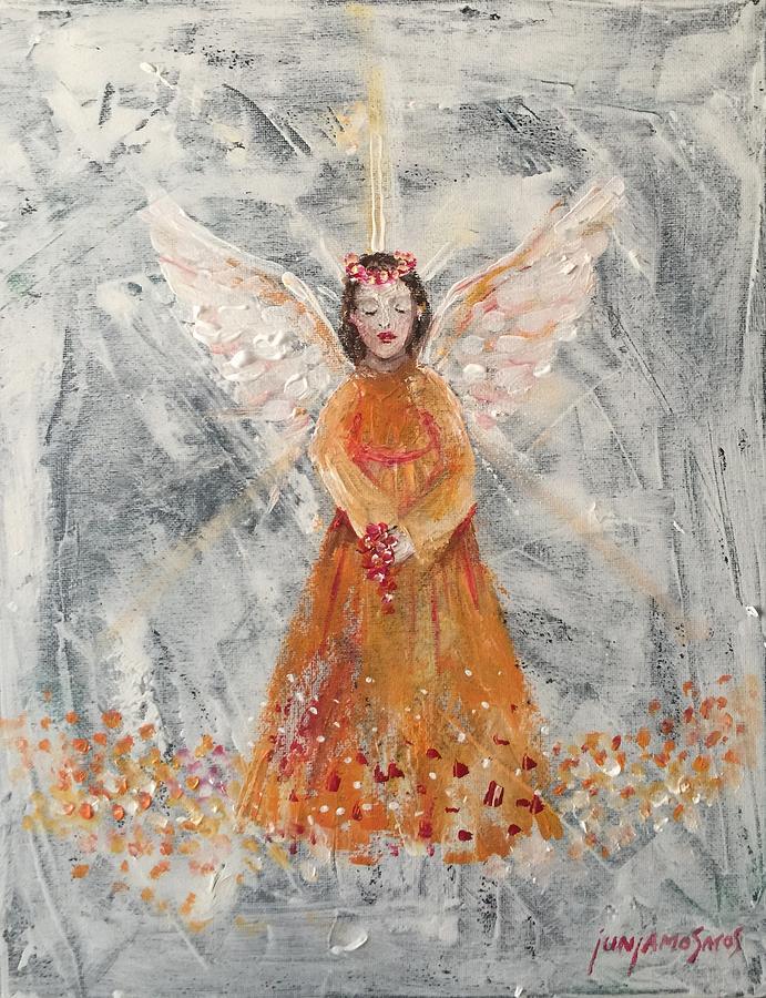 Angel Painting - Angel In Orange by Jun Jamosmos