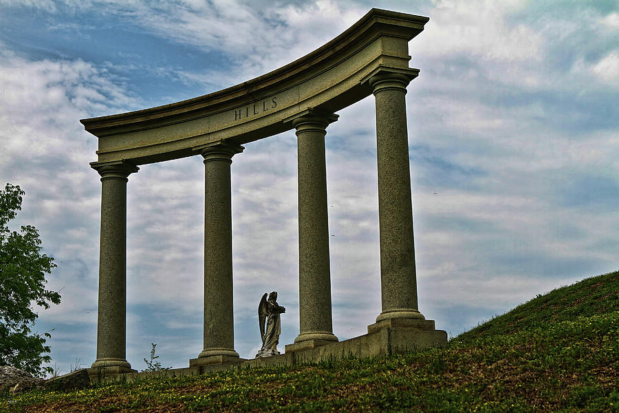 Myrtle Hill Cemetery Photograph - Angel In The Columns by Jason Blalock