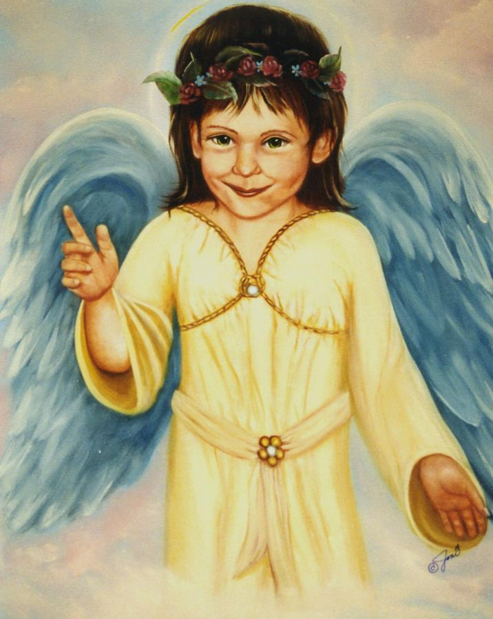 Portrait Painting - Angel In Yellow by Joni McPherson