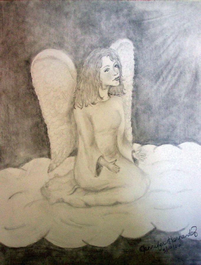 Angel Drawing - Angel by Jennifer Hernandez