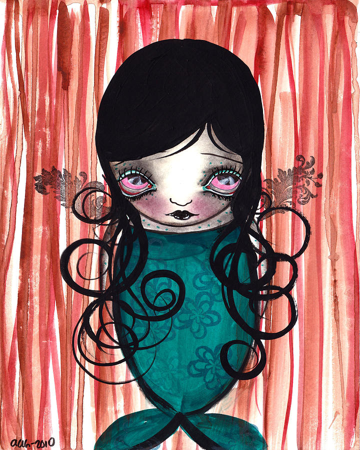 Mermaid Painting - Angel Mermaid by  Abril Andrade Griffith