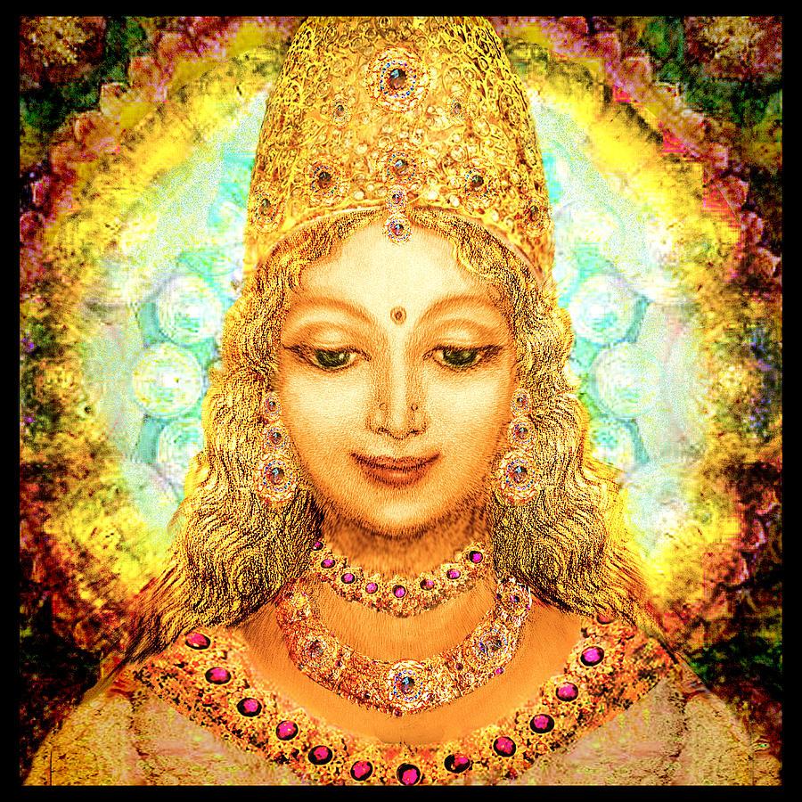 Mandala Mixed Media - Angel Of Beauty, Round by Ananda Vdovic