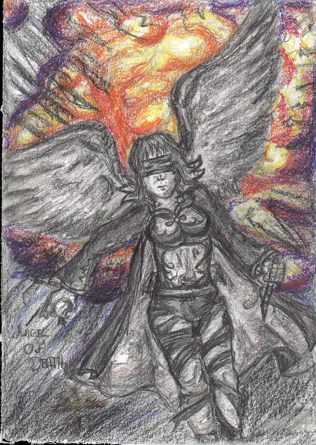 Angel Drawing - Angel Of Death by Mahdi Thompson