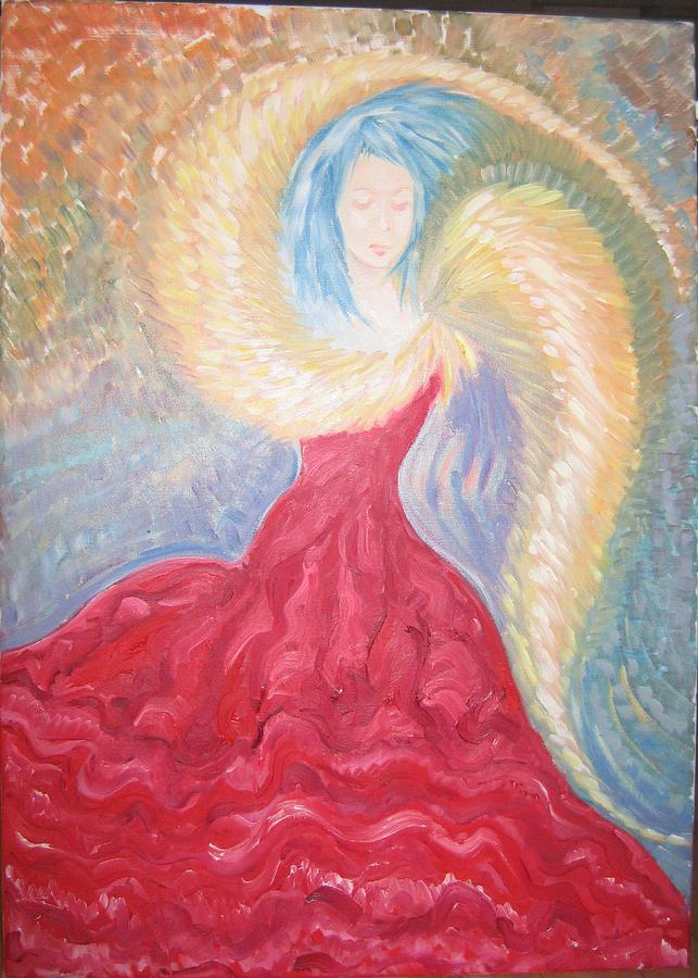 Angel Painting - Angel Of Fire by Helene  Champaloux-Saraswati